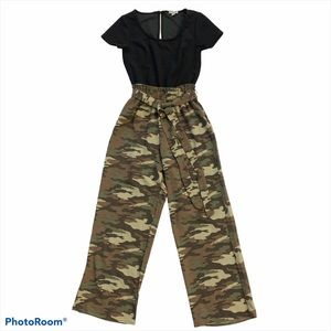 J for Justify Camo Jumpsuit Tied Waist Black Small